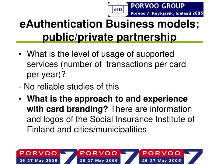 eAuthentication Business models; public/private partnership
