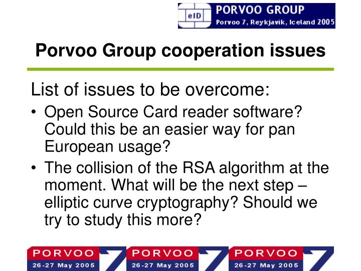 Porvoo Group cooperation issues