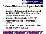 status of national deployment of eid2