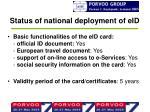 status of national deployment of eid3