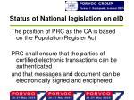 status of national legislation on eid