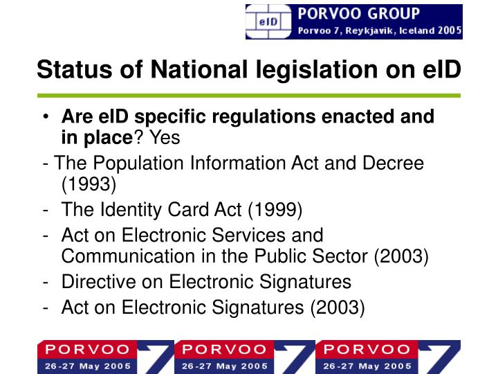 Status of National legislation on eID