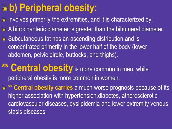b) Peripheral obesity: