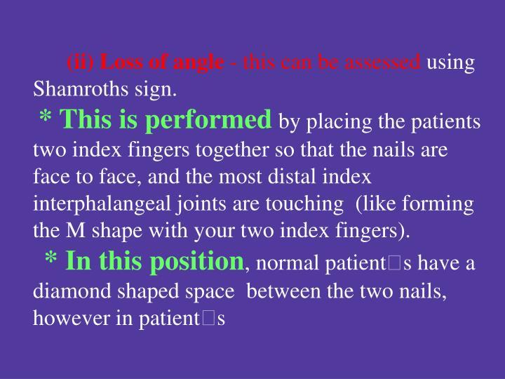 (ii) Loss of angle