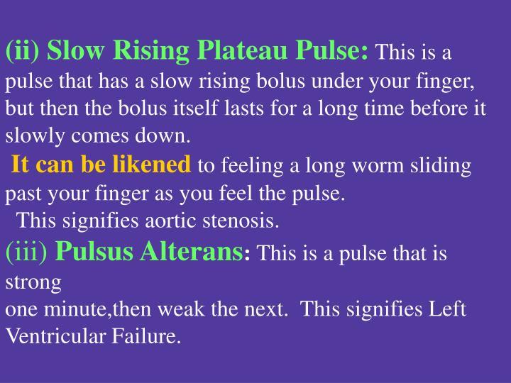 (ii) Slow Rising Plateau Pulse: