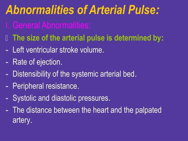 Abnormalities of Arterial Pulse