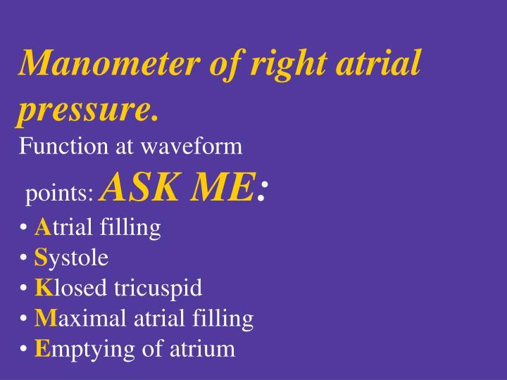 Manometer of right atrial pressure.