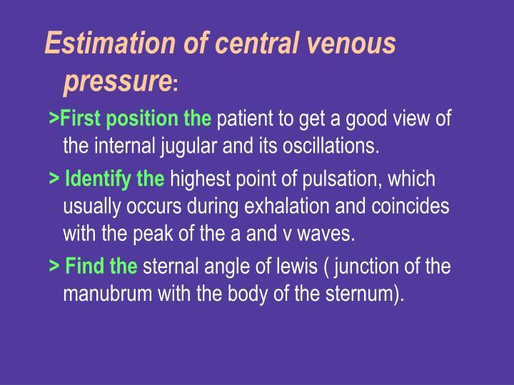 Estimation of central venous pressure