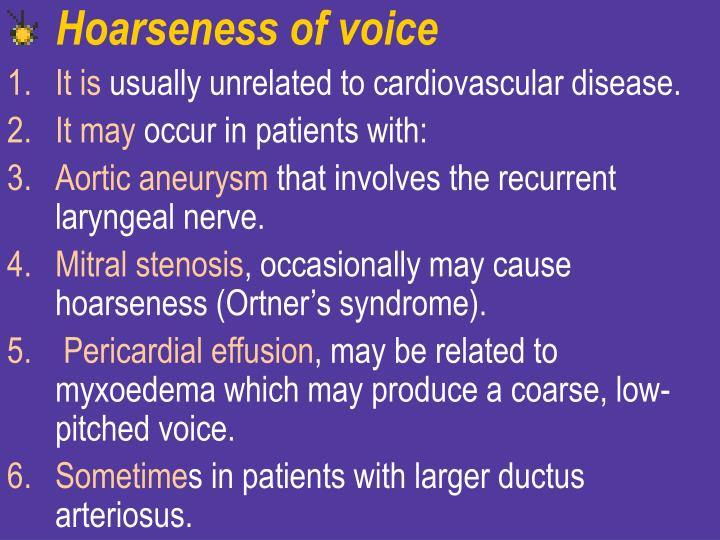 Hoarseness of voice