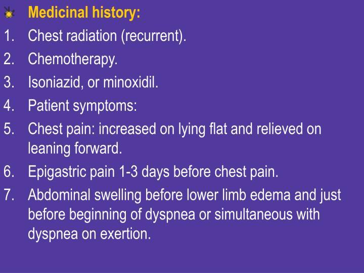 Medicinal history: