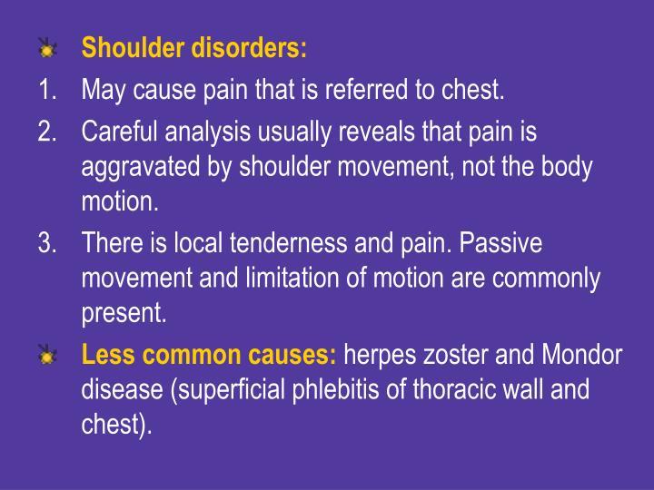 Shoulder disorders: