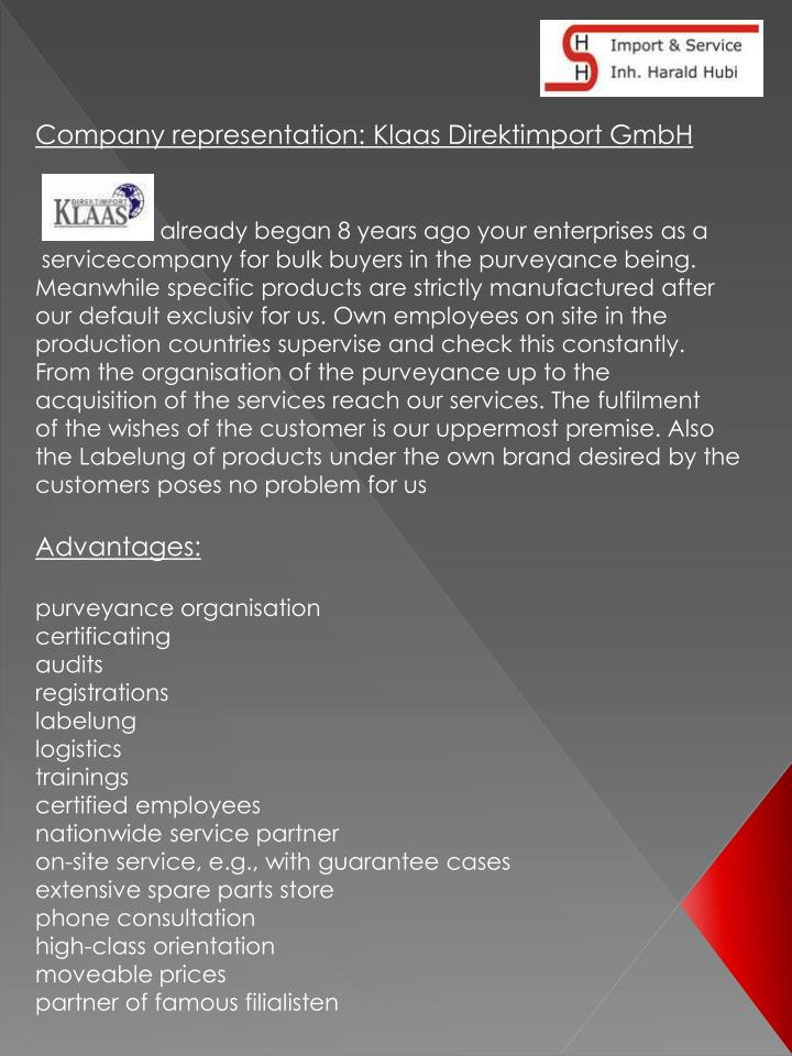 Company representation: Klaas Direktimport GmbH