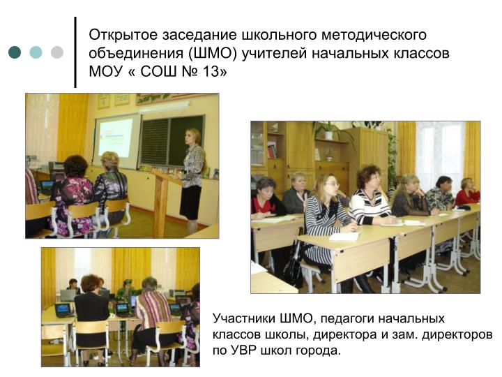 Открытое заседание школьного методического объединения (ШМО) учителей начальных классов МОУ « СОШ № 13»