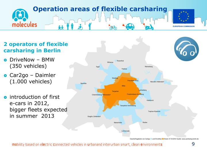 Operation areas of flexible carsharing
