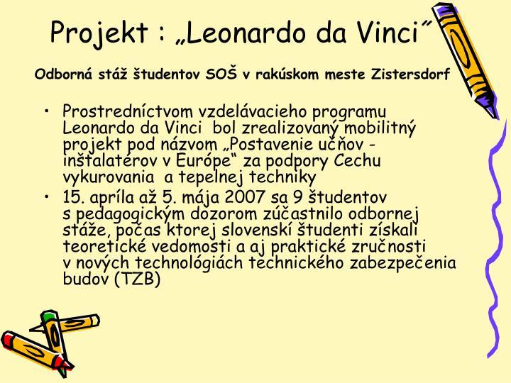 "Projekt : ""Leonardo da Vinci˝"
