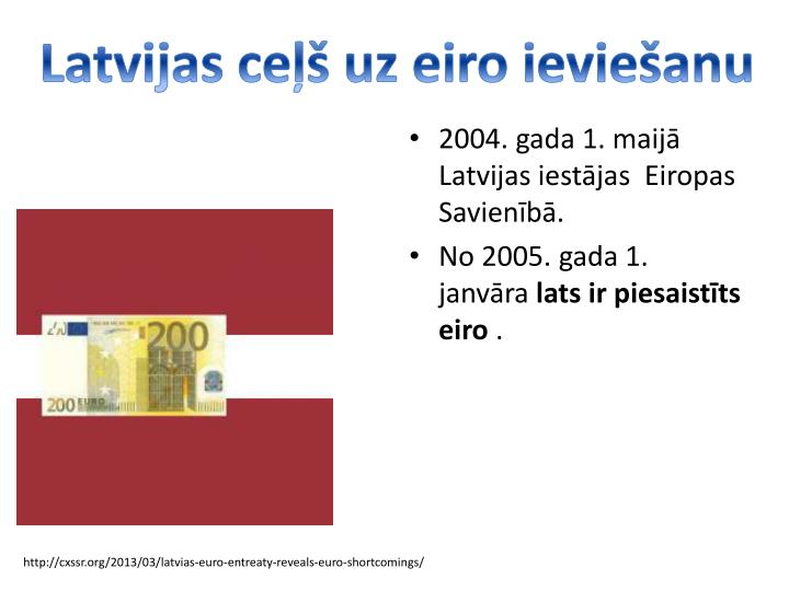 Latvijas ce uz eiro ievieanu
