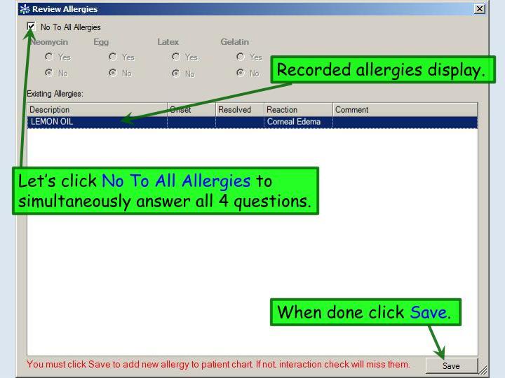 Recorded allergies