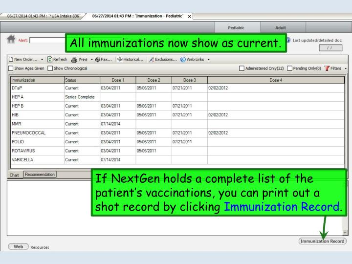 All immunizations now show as current.
