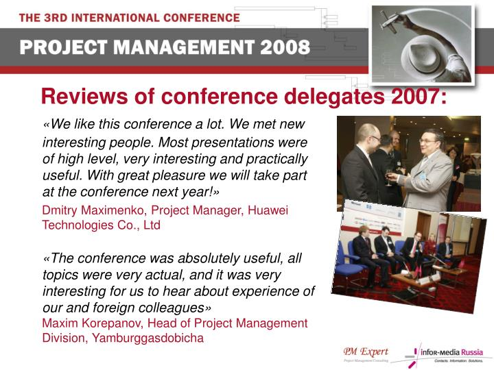 Reviews of conference delegates