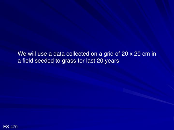 We will use a data collected on a grid of 20 x 20 cm in a field seeded to grass for last 20 years