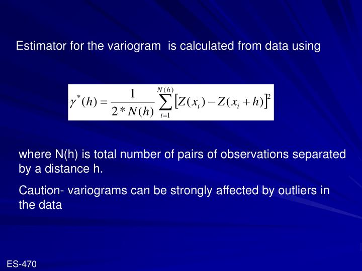 Estimator for the variogram  is calculated from data using