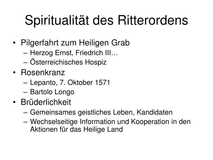 Spiritualität des Ritterordens