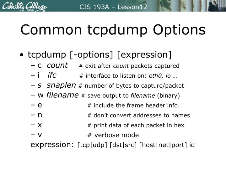 Common tcpdump Options