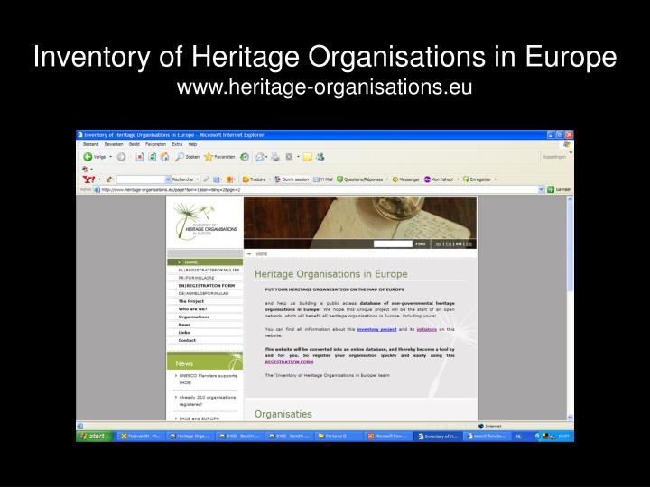 Inventory of Heritage Organisations in Europe