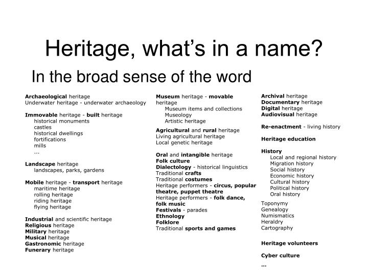 Heritage, what's in a name?