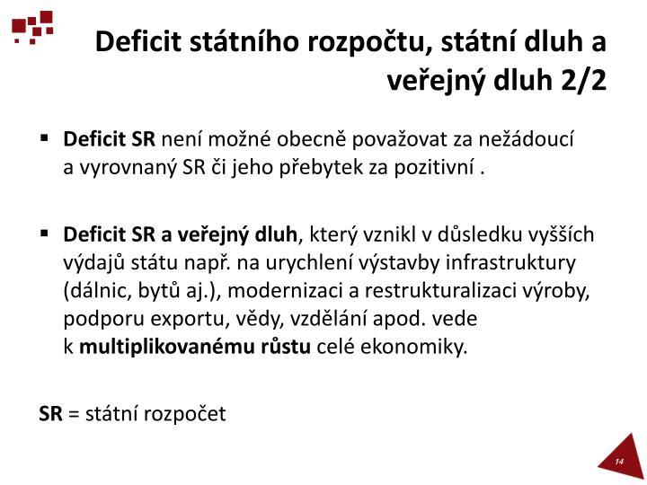 Deficit státního rozpočtu, státní dluh a veřejný