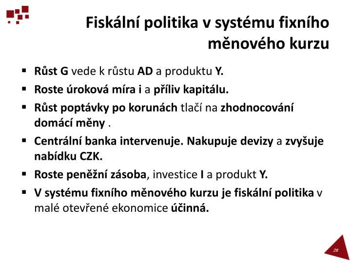 Fiskální politika v systému fixního měnového