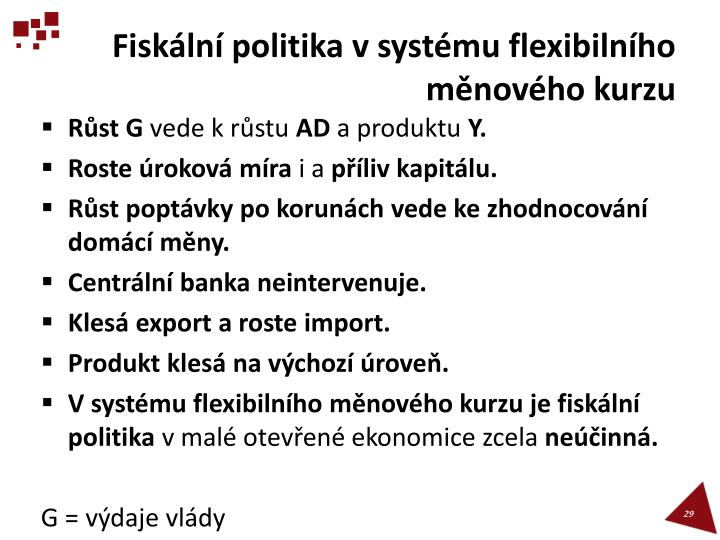 Fiskální politika v systému flexibilního měnového