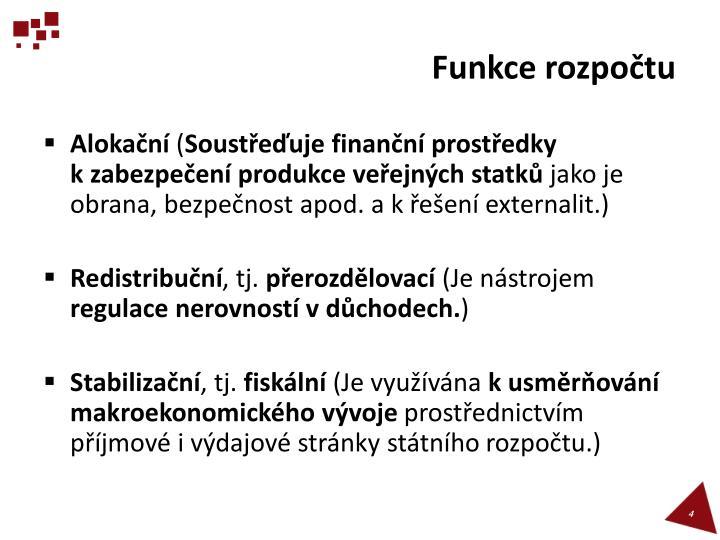 Funkce rozpočtu