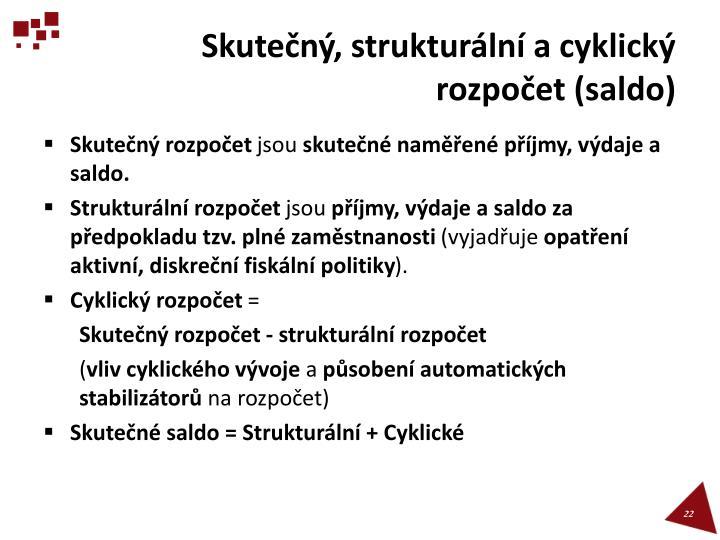 Skutečný, strukturální a cyklický rozpočet (saldo)