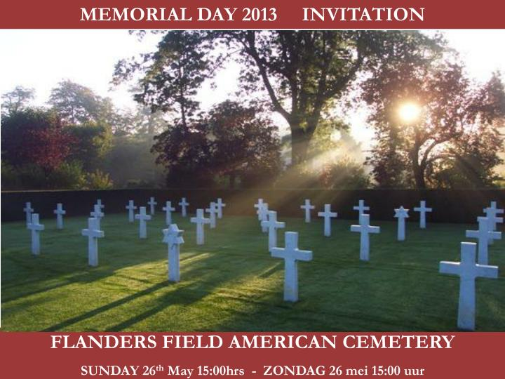 MEMORIAL DAY 2013     INVITATION
