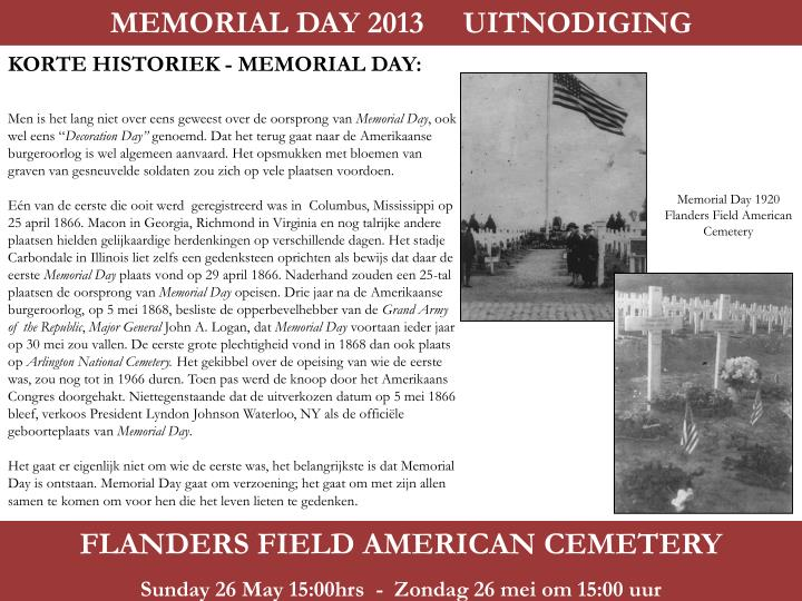 MEMORIAL DAY 2013     UITNODIGING