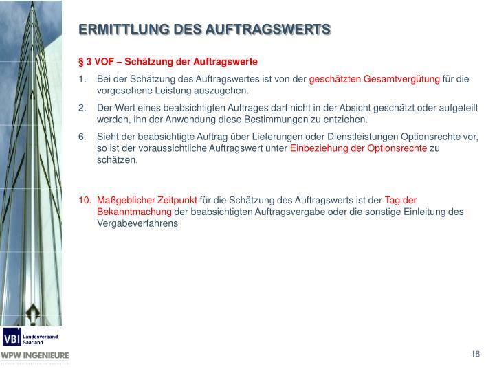 ERMITTLUNG DES AUFTRAGSWERTS