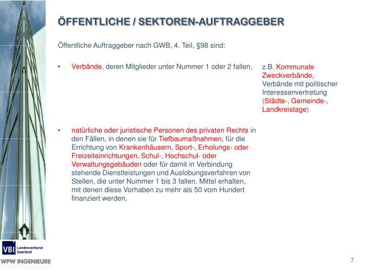 ÖFFENTLICHE / SEKTOREN-AUFTRAGGEBER