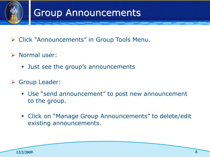 "Click ""Announcements"" in Group Tools Menu."
