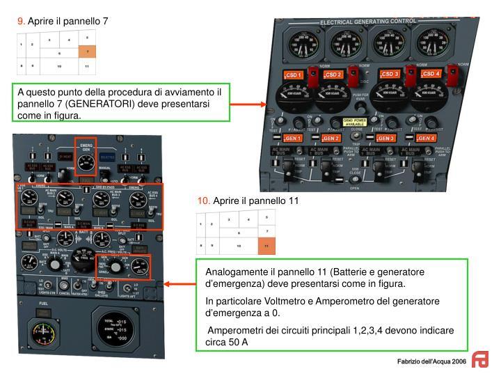 Analogamente il pannello 11 (Batterie e generatore d'emergenza) deve presentarsi come in figura.