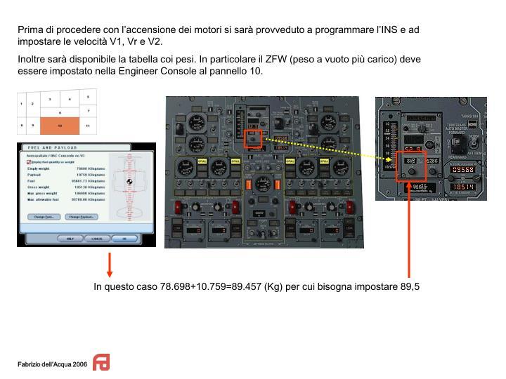 Prima di procedere con l'accensione dei motori si sarà provveduto a programmare l'INS e ad impostare le velocità V1, Vr e V2.
