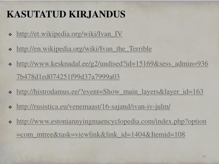KASUTATUD KIRJANDUS