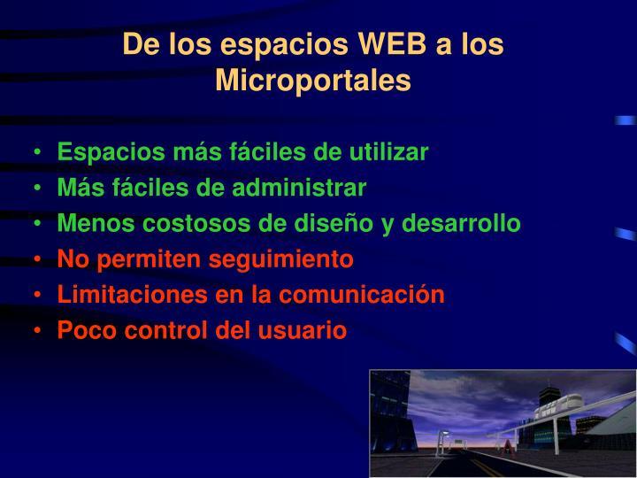 De los espacios WEB a los Microportales
