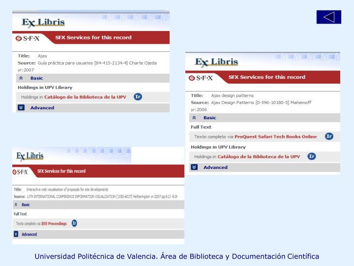 Universidad Politécnica de Valencia. Área de Biblioteca y Documentación