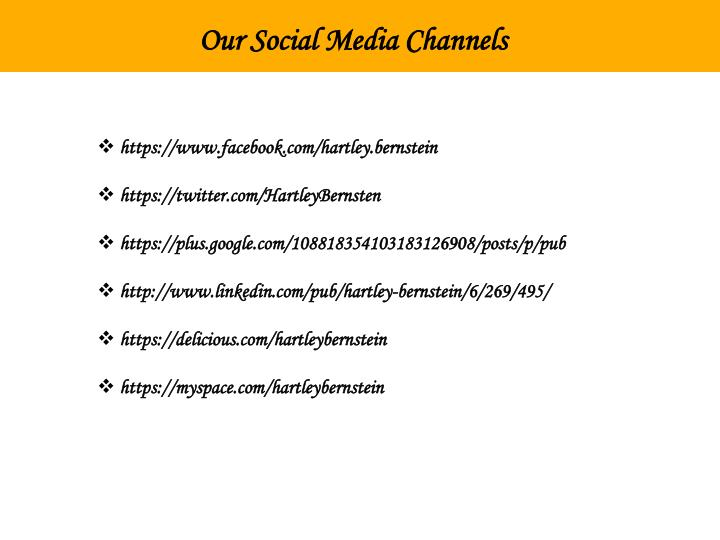 Our Social Media Channels