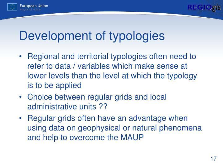 Development of typologies