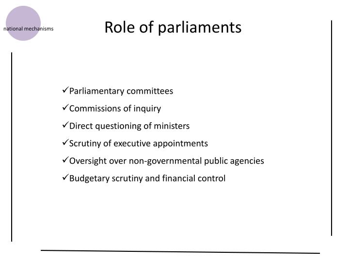 Role of parliaments