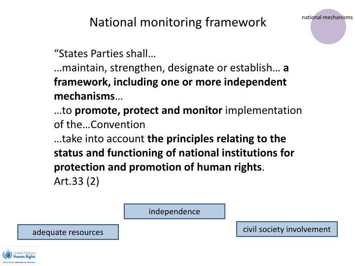 National monitoring framework