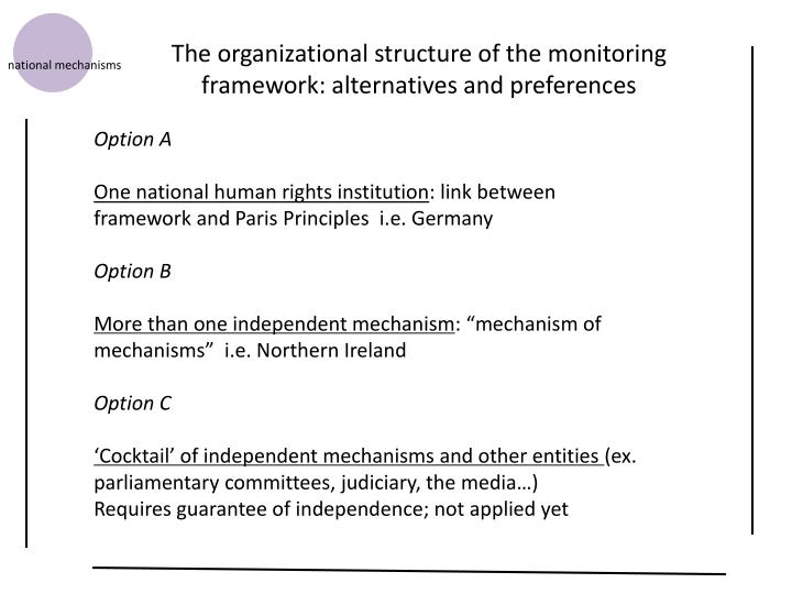 The organizational structure of the monitoring framework: alternatives and preferences