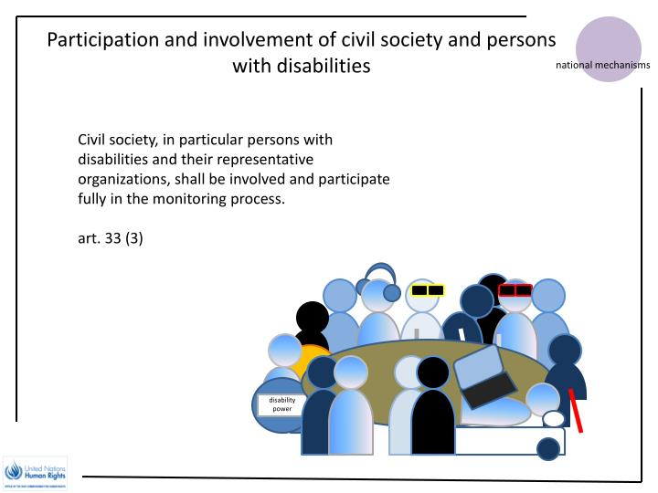 Participation and involvement of civil society and persons with disabilities